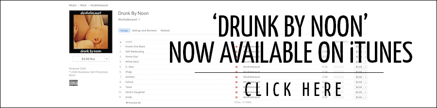Alcoholocaust 'Drunk By Noon' on iTunes Banner